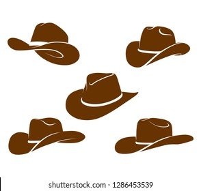 Brown cowboy hat vector icon.