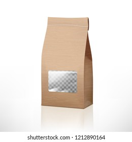 Brown Craft Paper Bag Packaging With Transparent Window. EPS10 Vector