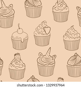 brown cupcakes vector seamless pattern. Good for menu design, web design, print