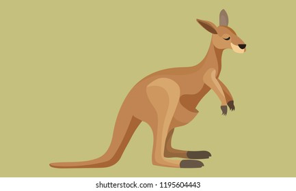 Brown cute kangaroo vector art with green background