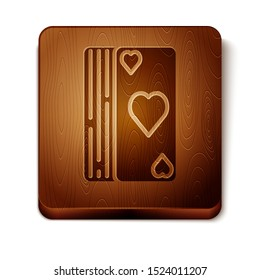 Brown Deck of playing cards icon isolated on white background. Casino gambling. Wooden square button. Vector Illustration