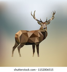 Brown deer of geometric shapes on a gradient background in the style of low poly