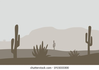 brown desert landscape with cactus