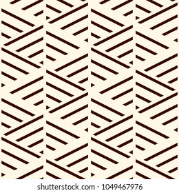 Brown diagonal lines on white background. Seamless surface pattern design with linear ornament. Slanted strokes wallpaper. Hash stroke motif. Digital paper with angled stripes for print. Vector art