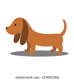 Brown dog on white background. Design by Inkscape.