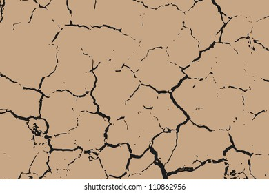 The brown earth with cracks texture. Vector background.