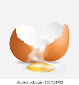 Brown egg isolated on background.