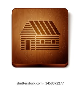 Brown Farm house icon isolated on white background. Wooden square button. Vector Illustration