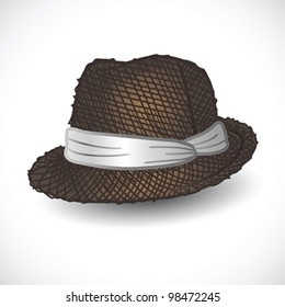 Brown fedora hat isolated- vector illustration Shadow and background on separate layers. Easy editing.
