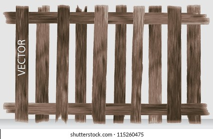 Brown fence with wooden texture, Vector illustration