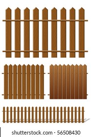 Brown fence with wooden texture (vector)