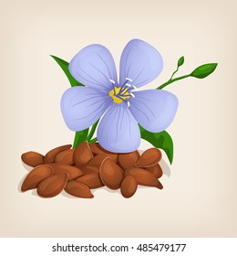 Brown flax seeds with flowers and leaves. Vector illustration.