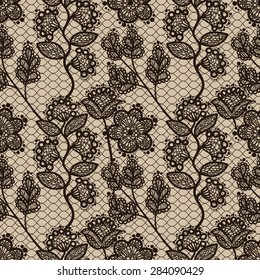 Brown Floral Lace Seamless Pattern. Elegant Textile Background.