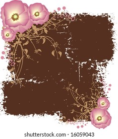 Brown frame with golden ornaments and pink flowers