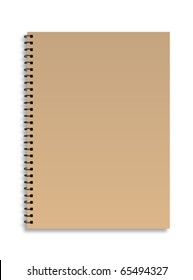 Brown front cover notebook isolated on white background Vector