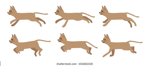 Brown funny cat sprites for games.
