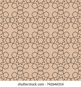Brown geometric ornament. Seamless pattern for web, textile and wallpapers