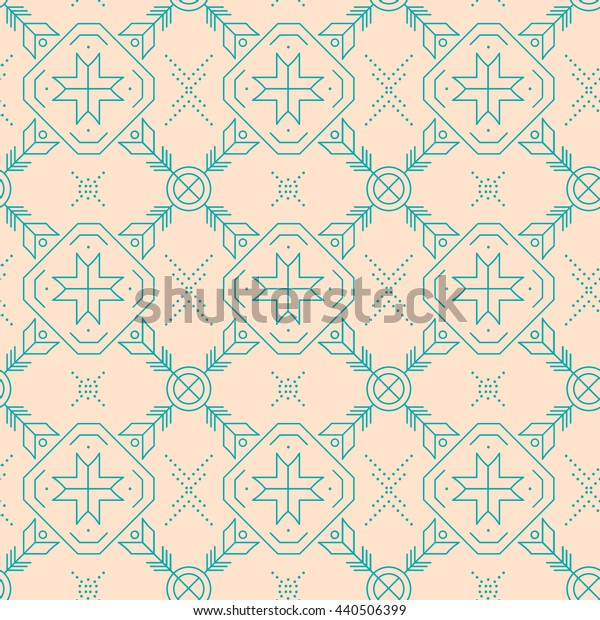 Brown geometric seamless pattern. Tribal indian ornaments..Vector illustration.