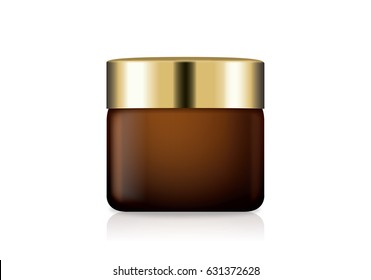 Brown glass cream jar with gold lid. illustration about cosmetic mock up.