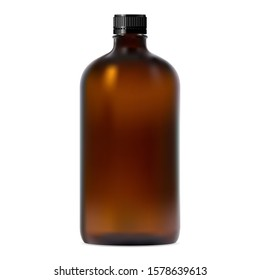 Brown glass brown. Realistic transparent amber container mockup with screw lid. Essential oil pharmaceutical jar. Vitamin syrup round storage. Chemical packaging design illustration