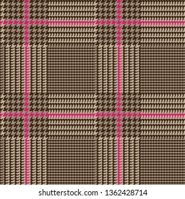 Brown Glen Plaid Seamless Vector Pattern with Deep Pink Overcheck. Prince of Wales Check. Classic 9x9 Houndstooth Textile Print. Traditional Scottish Fabric. Pixel Pattern Tile Swatch Included.