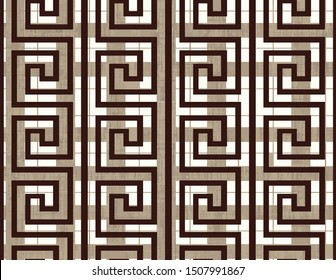 Brown Greek key meander plaid ornaments on taupe checkered radial background. Repeat abstract monochrome backdrop.  Modern decorative geometry textile print for bed linen, jacket, package design