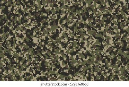 Brown, green and black Pixel Camouflage. Khaki Digital Camo background, military pattern, army and sport clothing, urban fashion. Vector Format.