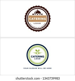 Brown green blue line art circle fork spoon badge combination logo design concept suitable for catering event customer restaurant food