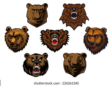 Brown grizzly or bear heads mascots with different expressions from curious to fierce and snarling, vector illustration isolated on white