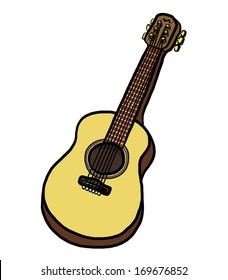 brown guitar / cartoon vector and illustration, isolated on white background.