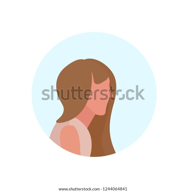 Brown Hair Woman Profile Avatar Isolated Stock Vector Royalty