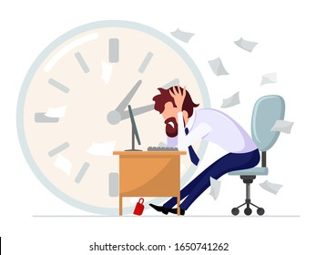 Brown haired bearded man in formal suit sitting at computer desk and clutching his head in his hands among scattered documents at large clock background. Problems at work. Vector cartoon illustration.