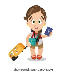 Brown haired cute lady with camera in tee shirt and shorts standing with luggage. Smiling girl with crossbody bag and suitcase showing passport. Vector cartoon illustration isolated on white.