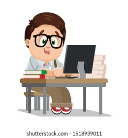 Brown haired plump schoolboy sitting at desk with books, papers before computer, preparing for exams. Studious student in glasses learning lessons, studing. Geek, nerd boy. Vector cartoon on white.