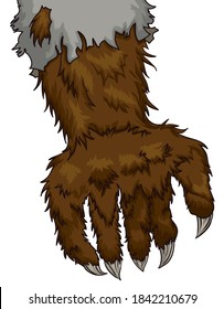 Brown hairy werewolf hand with long claws and ragged sleeve due its transformation.