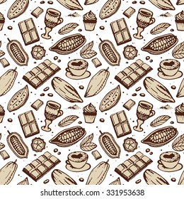 Brown hand drawing pattern on the lite background. Cacao, beans, chocolate, cake, cup of hot chocolate, mug, latte. For menu and box design: horeca, cafe, bar, restaurant, cooking, bakery.
