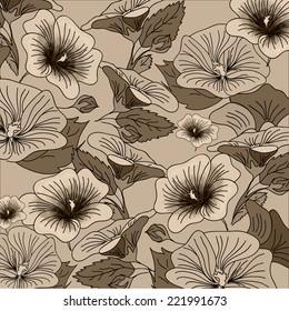 Brown hand drawn flower background