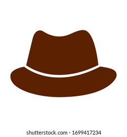 Brown hat on a white background, sign for design, vector illustration