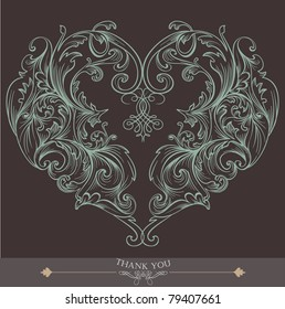 brown heart shape wedding card