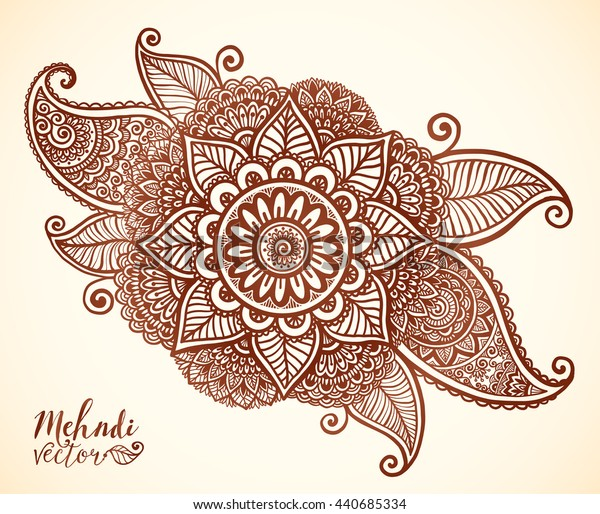 Brown henna colors vector floral element in Indian mehndi tattoo style