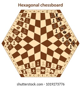 Brown hexagonal chessboard for three players with chess pieces. Chess pieces in flat style. Vector illustration
