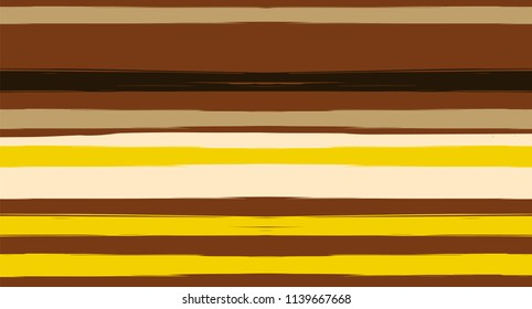 Brown Horizontal Watercolor Stripes Seamless Vector Summer Pattern. Earth Tones Hand Painted Graffiti Lines. Retro Vintage Modern Seamless Sailor Stripes. Hipster Grunge Texture Paintbrush Background.