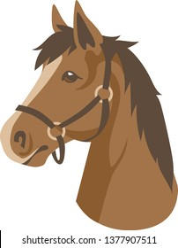 Brown Horse Bust Portrait Vector Illustration