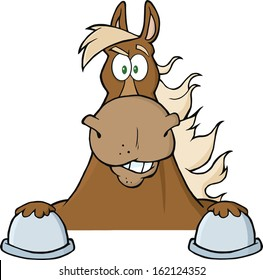 Brown Horse Looking Over A Sign. Vector Illustration Isolated on white