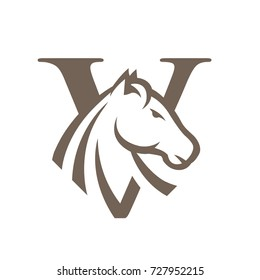 Brown Horse Vector Initial V Logo Clip
