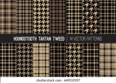 Brown Houndstooth Tartan Tweed Vector Patterns. Men's Fall or Winter Fashion. Father's Day Background. Traditional Formal Dogs-tooth Check Fabric Textures. Pattern Tile Swatches Included