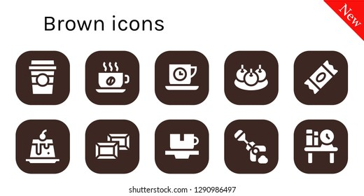 brown icon set. 10 filled brown icons. Simple modern icons about  - Coffee cup, Cup, Tea time, Bitterballen, Sugar, Creme caramel, Chocolate, Poop, Bookshelf