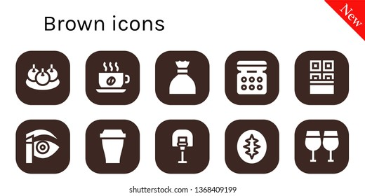 brown icon set. 10 filled brown icons.  Collection Of - Bitterballen, Cup, Sugar, Eye shadow, Chocolate, Eyebrow pencil, Basketball, Sourdough, Glasses