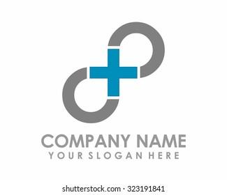 brown infinity plus vector logo image icon