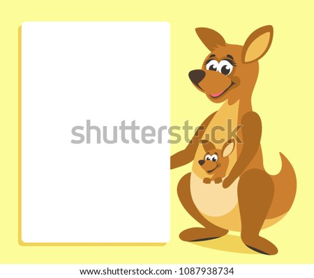 brown kangaroo white board template your stock vector royalty free